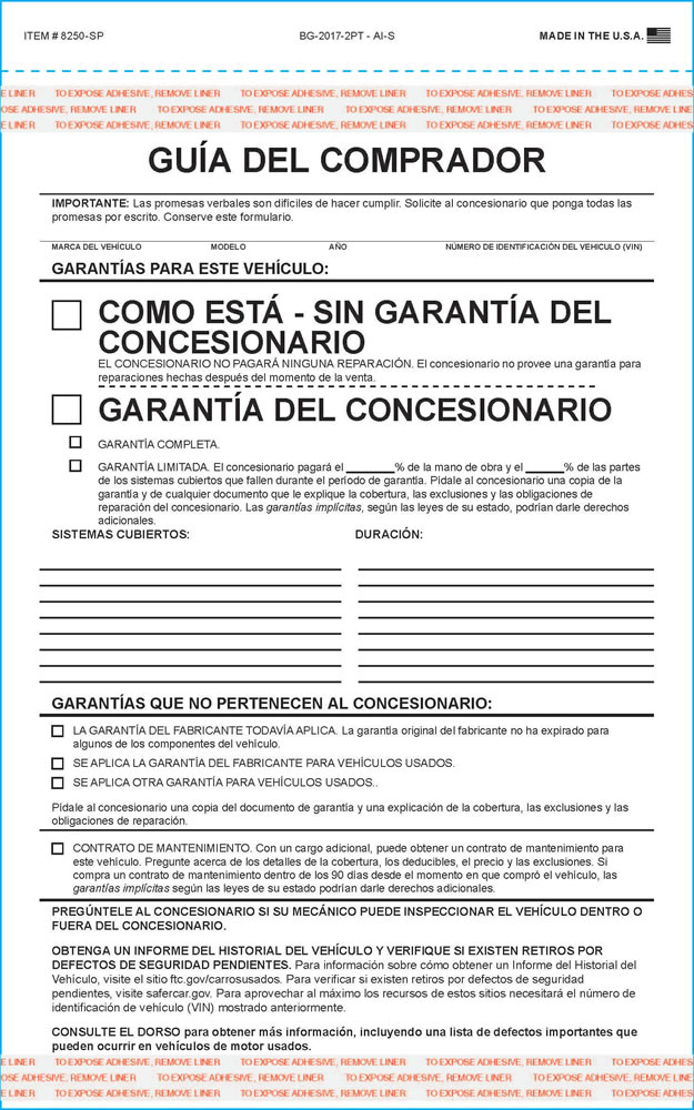 buy buyers guide forms spanish version