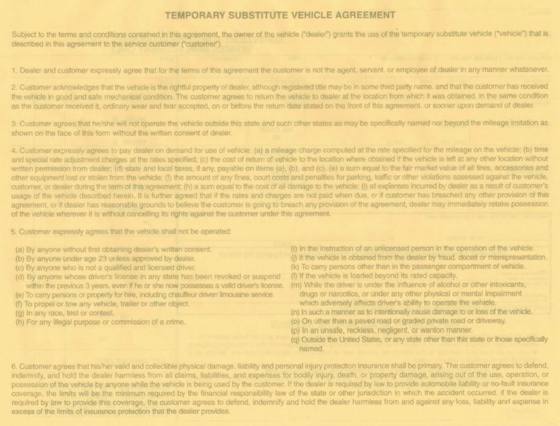 loaner car agreement template car rental agreement 8 free word pdf