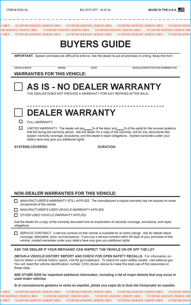 federal used car buyers guide form - generic and imprinted