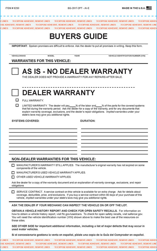 Buy FTC Used Car Buyers Guide Form - 2 part - Estampe