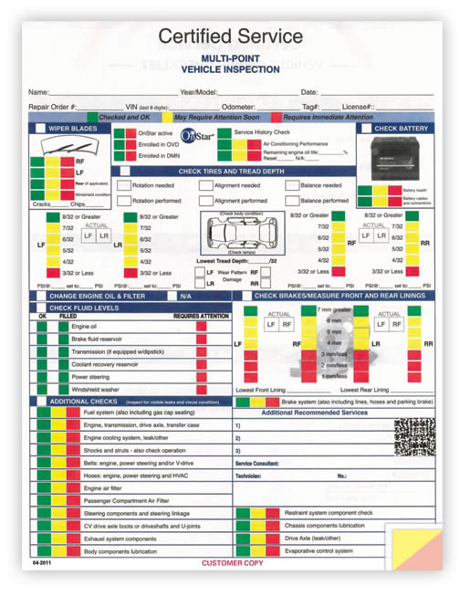 Buy GM MultiPoint Vehicle Inspection Forms Estampe – Vehicle Inspection Form