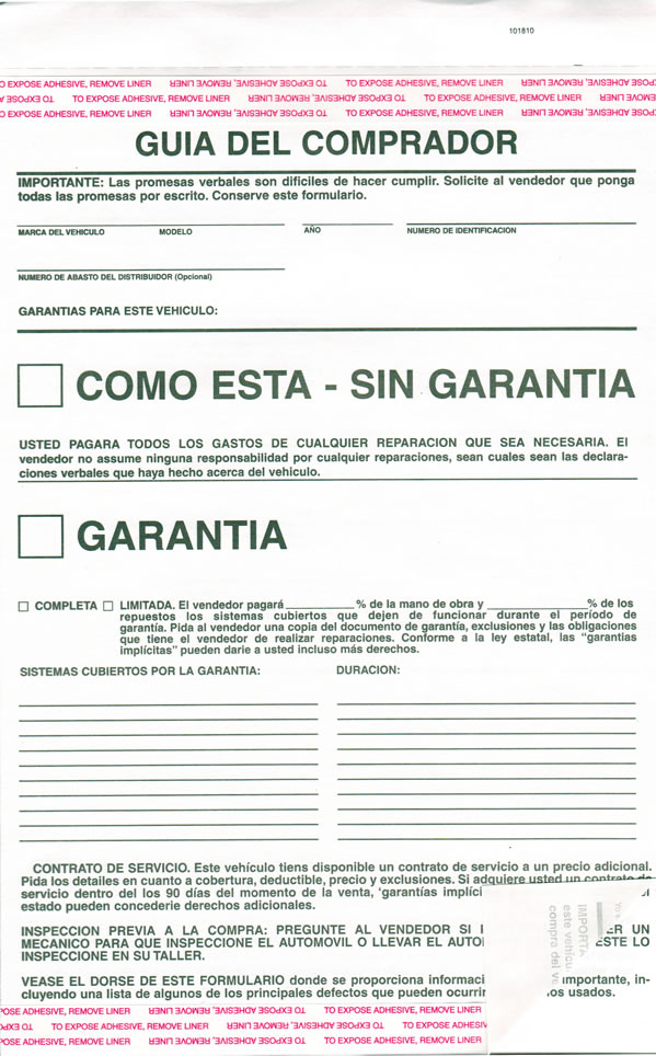 Dealerships That Buy Cars >> Buy Buyers Guide Forms Spanish Version - Estampe
