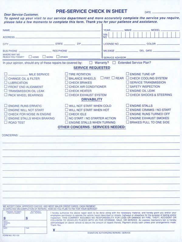 Buy Pre-Service Check-In Sheet Auto Repair Check-In Form - Estampe