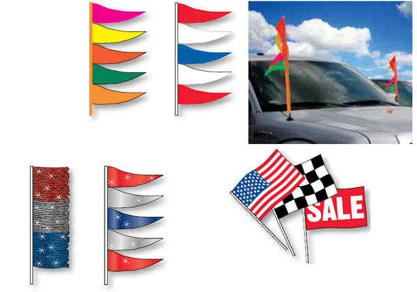 vehicle antenna flags