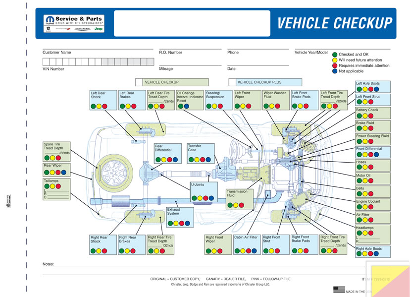 Buy Chrysler Vehicle Checkup Forms - Estampe