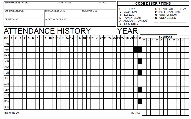 employee attendance tracker form