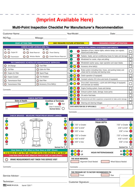 Generic And Imprinted Multi-Point Vehicle Inspection Forms - Estampe