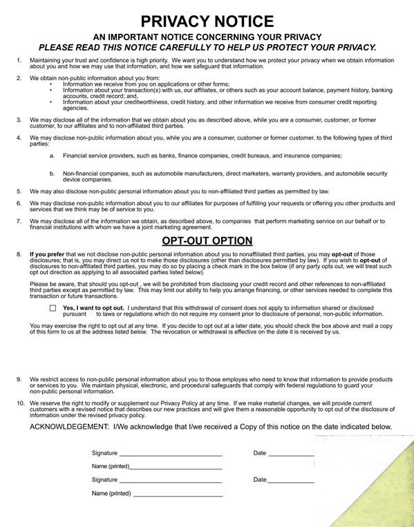 auto dealer privacy notice form buy now estampe. Black Bedroom Furniture Sets. Home Design Ideas