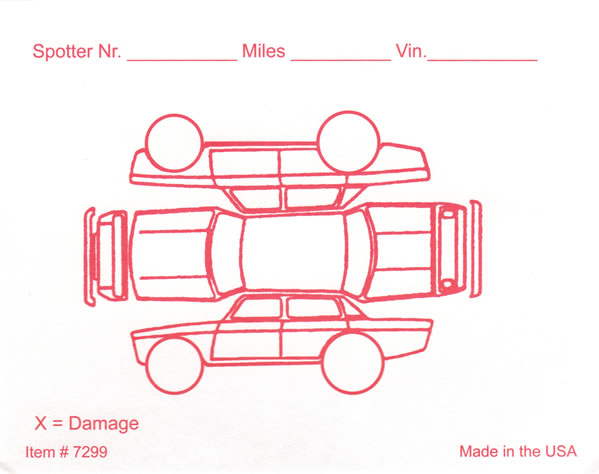 Red Alert Vehicle Damage Inspection Form