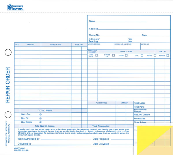 auto service repair form - 3-part