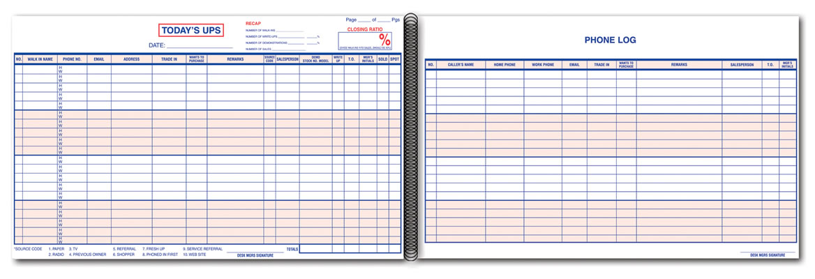 automotive ups log book  customer contact log