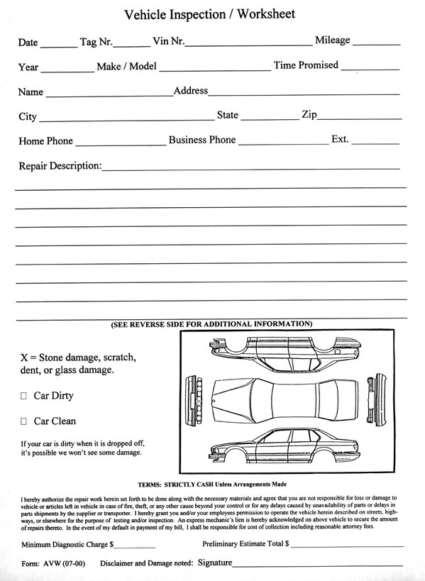 Vehicle Inspection Worksheet  Estampe