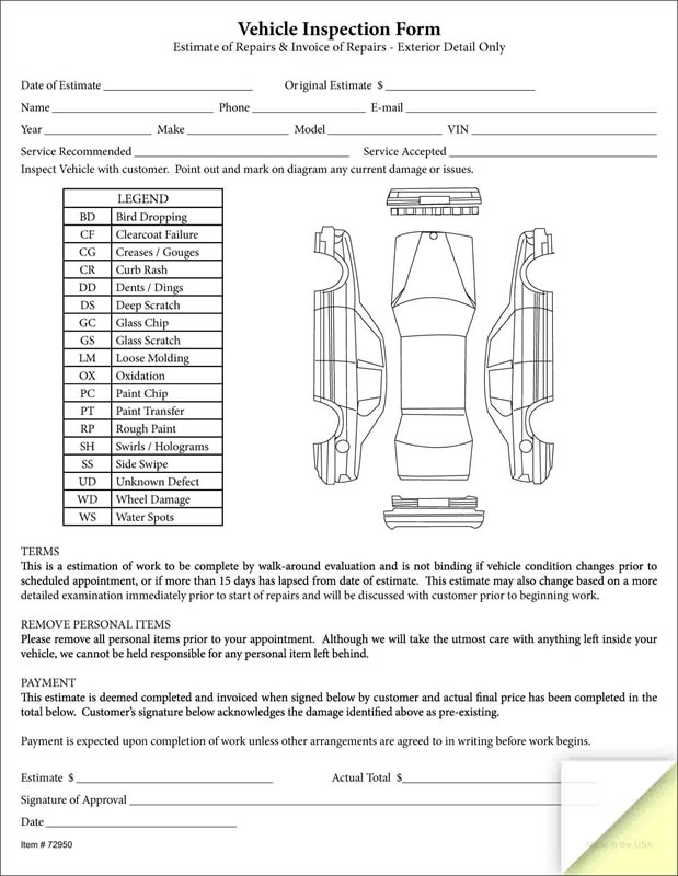 Car inspection checklist nc