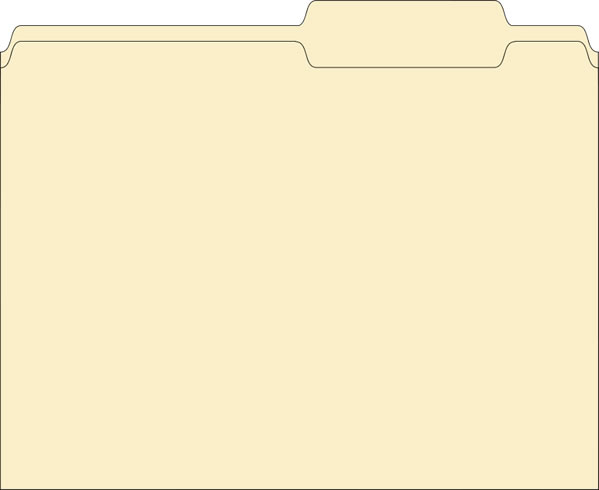 3 Assorted Tab File Folders - Plain