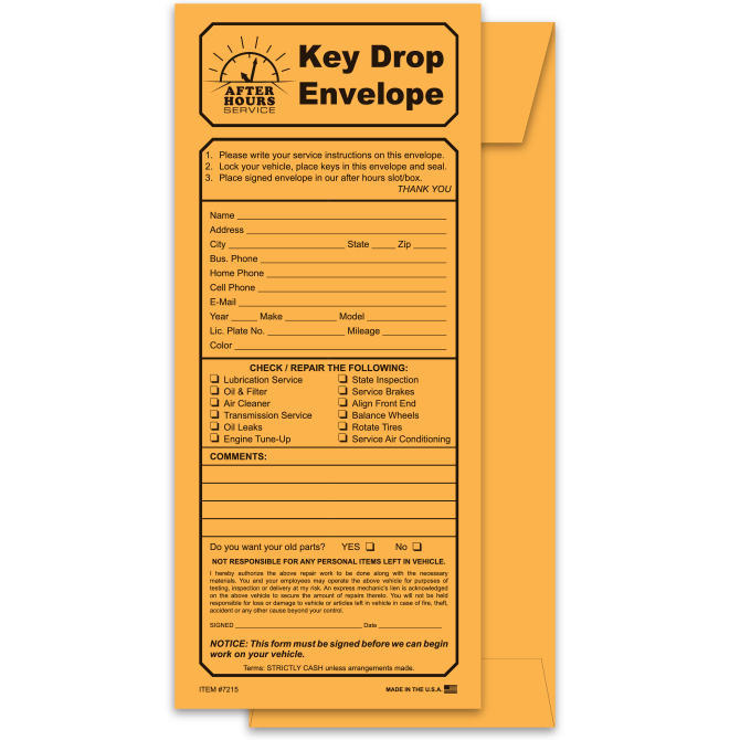 Key Drop Envelope