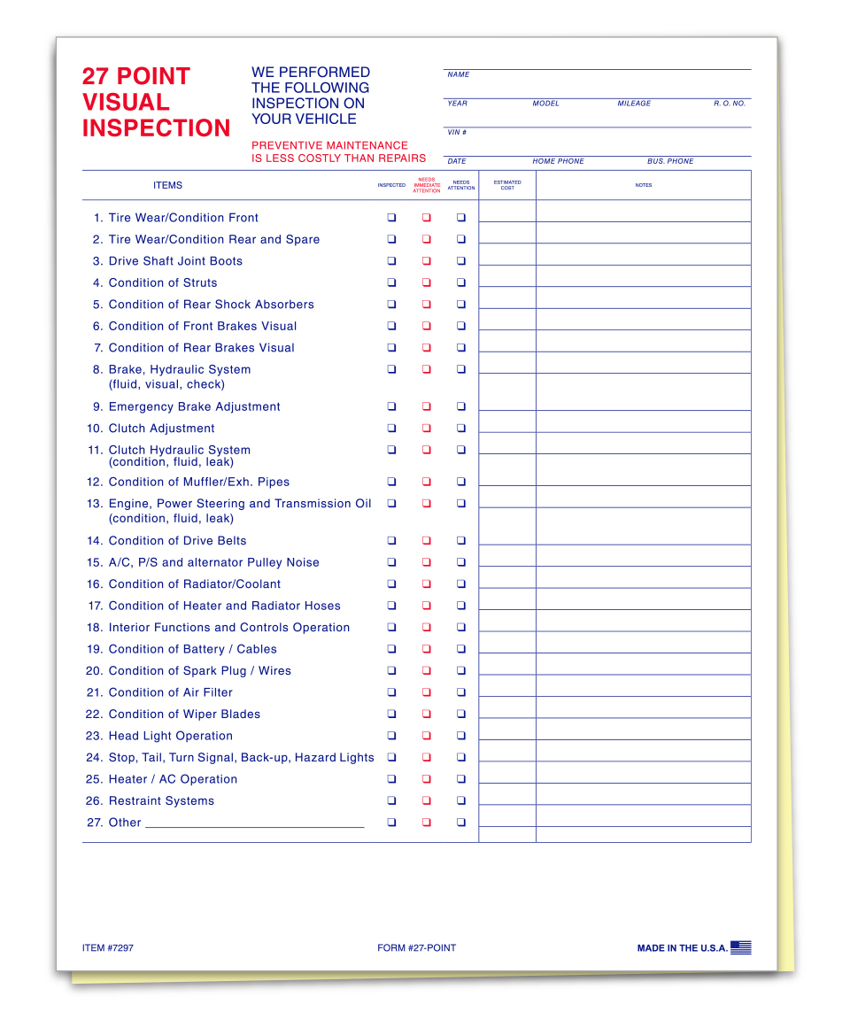 27 Point Inspection Form