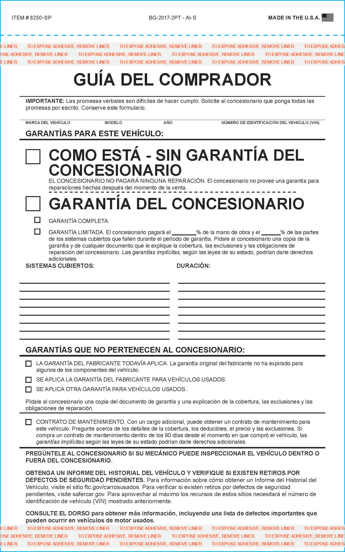 Buyers Guide Forms Spanish Version