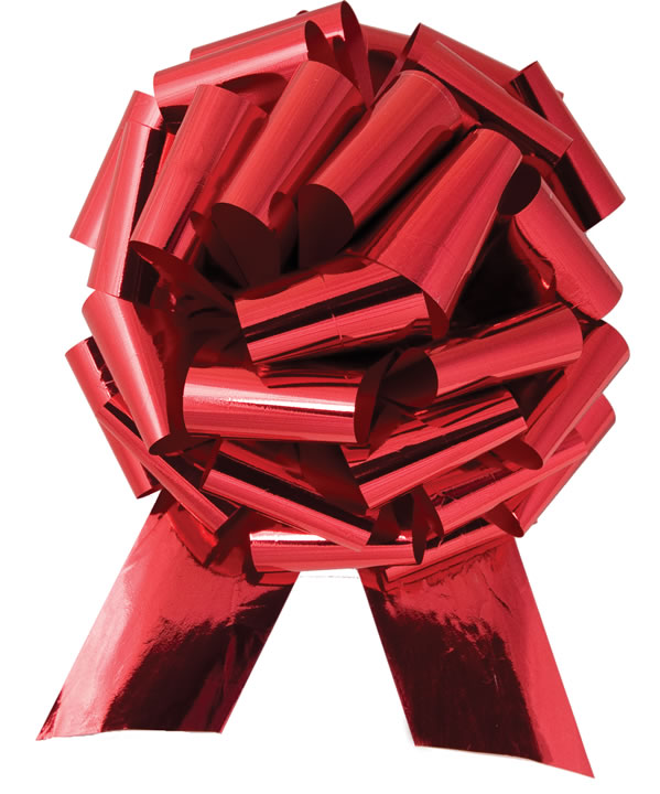 """Car Bows - 14"""" Red Metallic Pull Bow"""