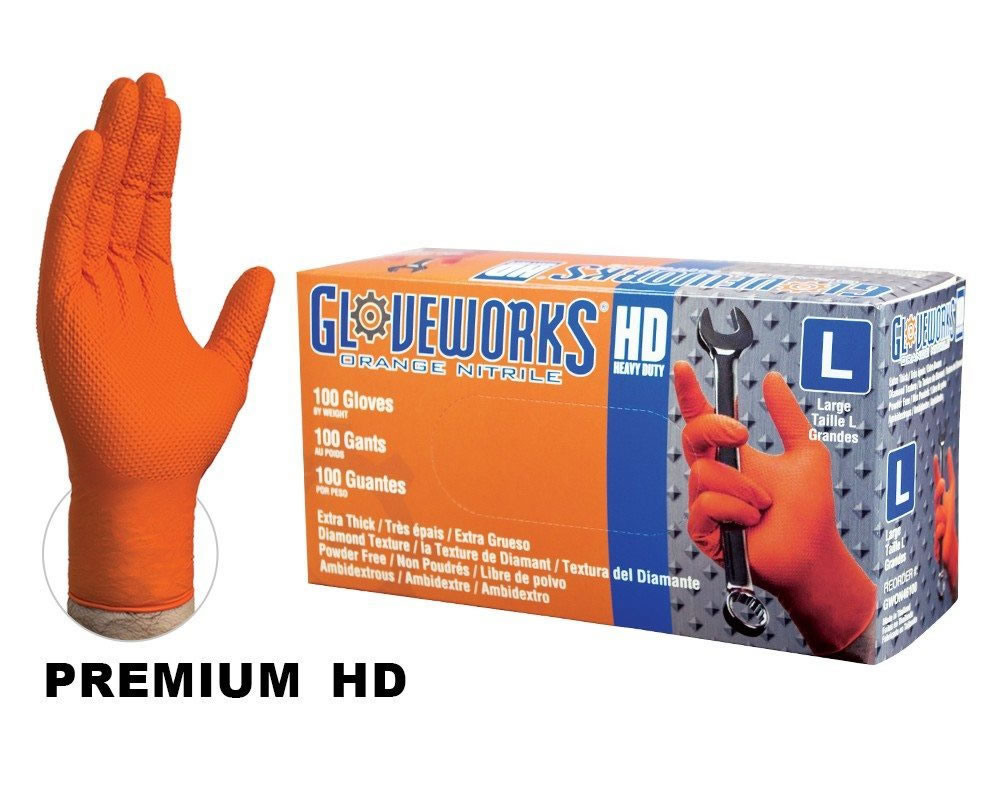 Gloveworks Heavy Duty Automotive Orange Nitrile Gloves