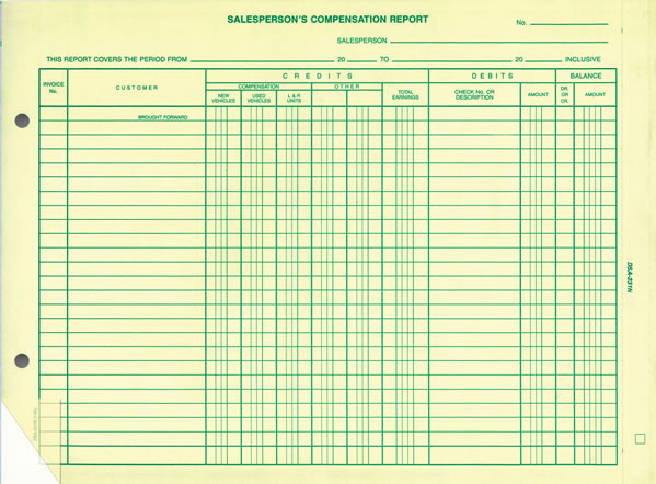 Auto Salesperson's Commission Compensation Report