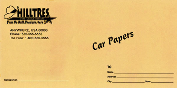 License Plate Envelopes - Custom