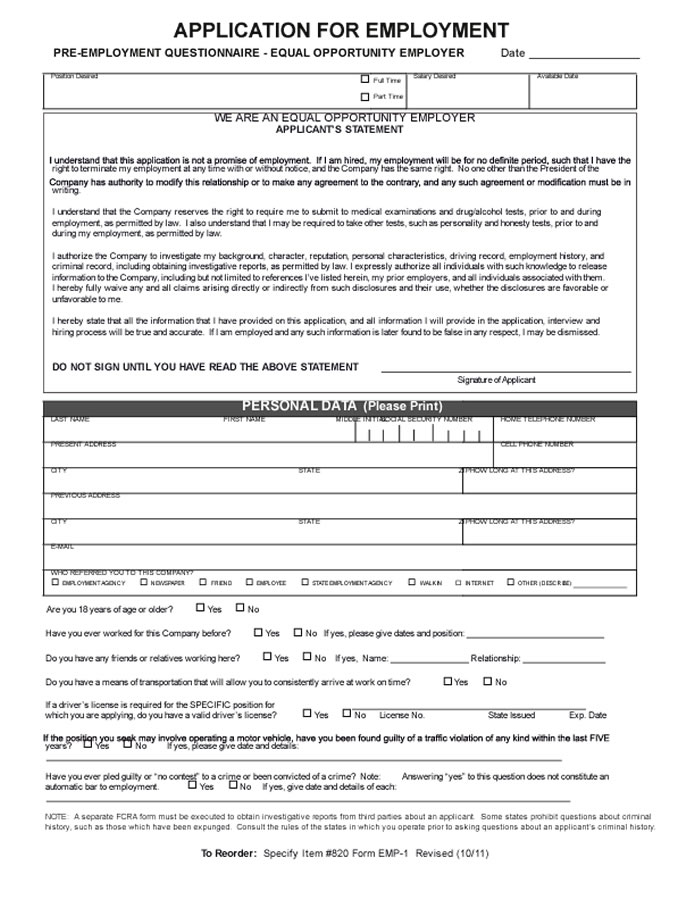 Automotive Industry Employment Application Forms
