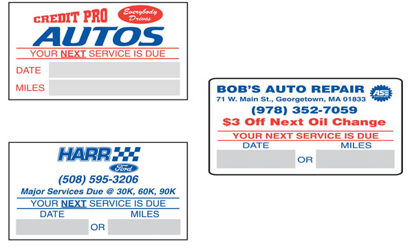 "Oil Change Stickers - 2 1/2"" x 1 1/2"""