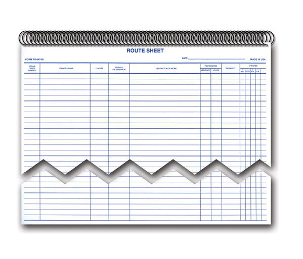 Daily Service Route Sheets