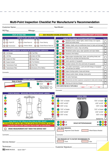 Generic And Imprinted Multi Point Vehicle Inspection Forms