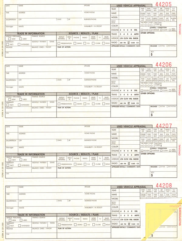 Auto Sales Guest Register Prospect Book