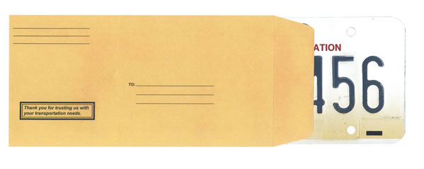 License Plate Envelopes - Preprinted