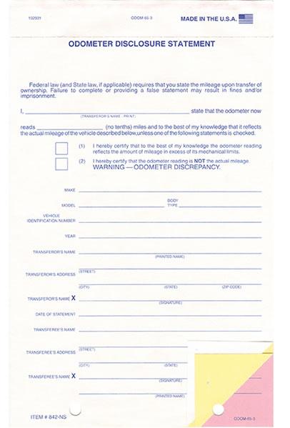 Odometer Disclosure Statement - ODOM-65-3