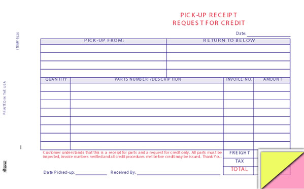 Auto Parts Pick-up Receipt Form