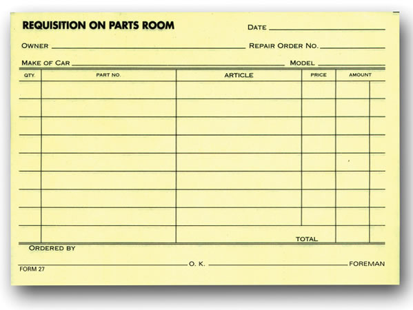 Parts Requisition Forms 1-Part