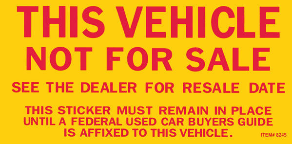 Vehicle Not For Sale Decal Stickers