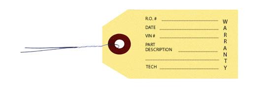 Warranty Parts Tags