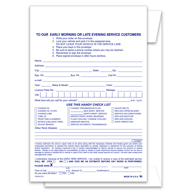 Night Drop Envelope with Service Estimate and Parts Return