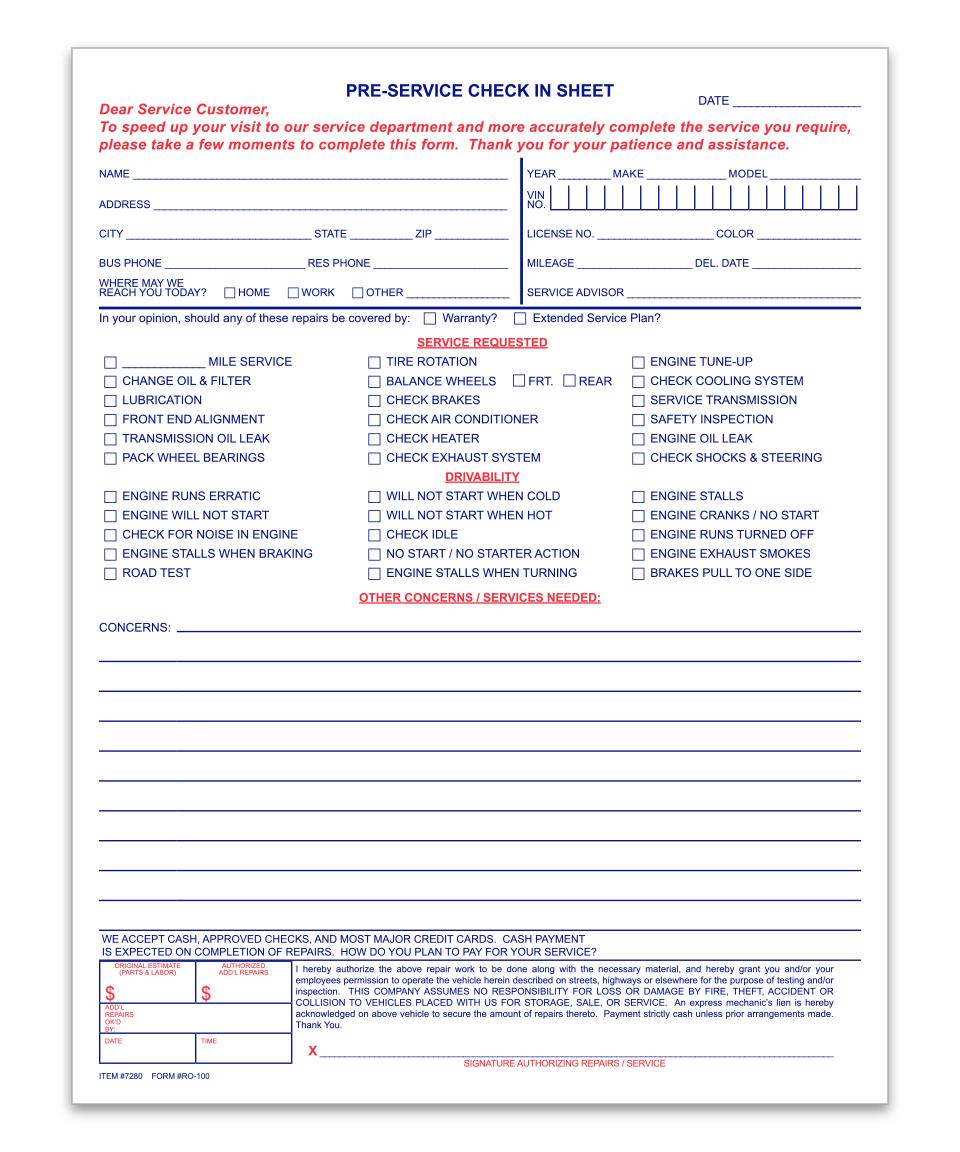 Pre-Service Check-In Sheet