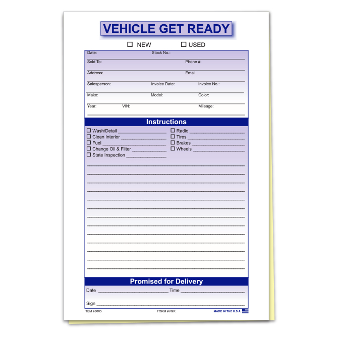 Vehicle Get Ready Form