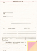 Auto Parts Special Order Forms