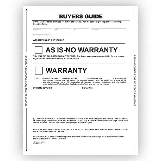 Buy Buyers Guide Stickers Form - Pressure Sensitive - Estampe